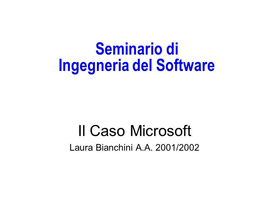 Seminario di Ingegneria del Software Il Caso Microsoft Laura Bianchini A.A. 2001/2002