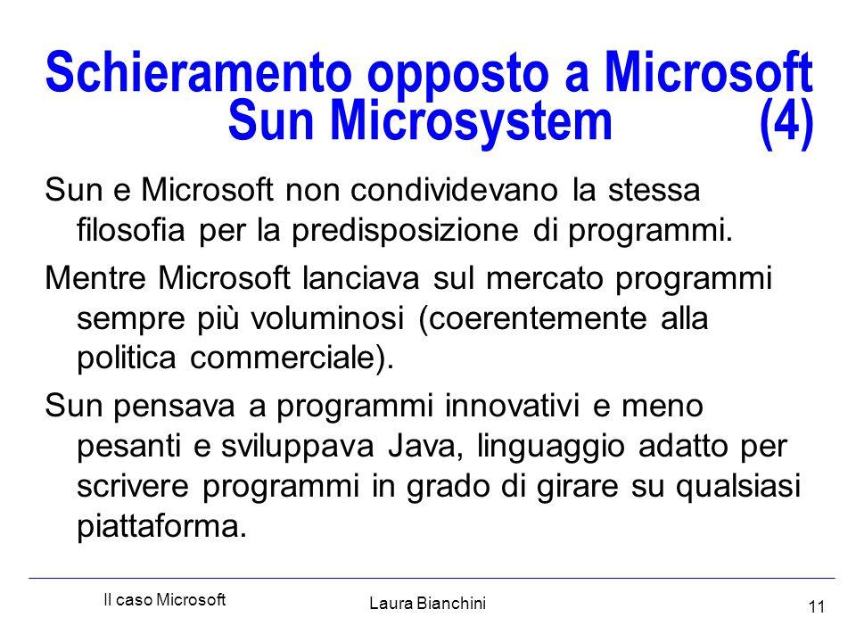 Laura Bianchini Il caso Microsoft 11 Schieramento opposto a Microsoft Sun Microsystem (4) Sun e Microsoft non condividevano la stessa filosofia per la predisposizione di programmi.