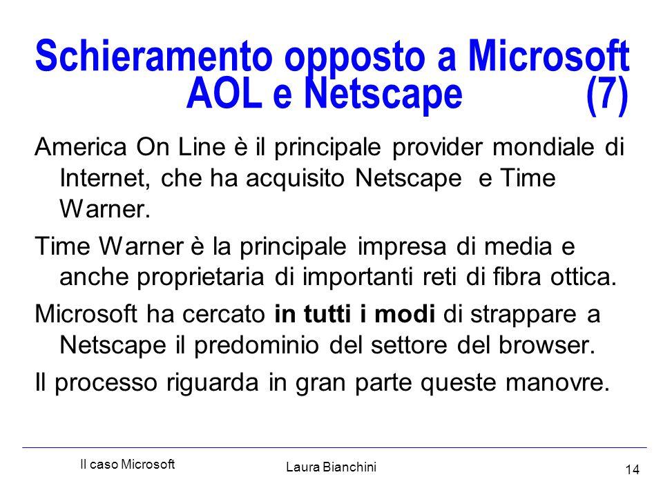 Laura Bianchini Il caso Microsoft 14 Schieramento opposto a Microsoft AOL e Netscape (7) America On Line è il principale provider mondiale di Internet, che ha acquisito Netscape e Time Warner.