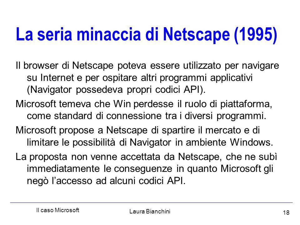 Laura Bianchini Il caso Microsoft 18 La seria minaccia di Netscape (1995) Il browser di Netscape poteva essere utilizzato per navigare su Internet e per ospitare altri programmi applicativi (Navigator possedeva propri codici API).