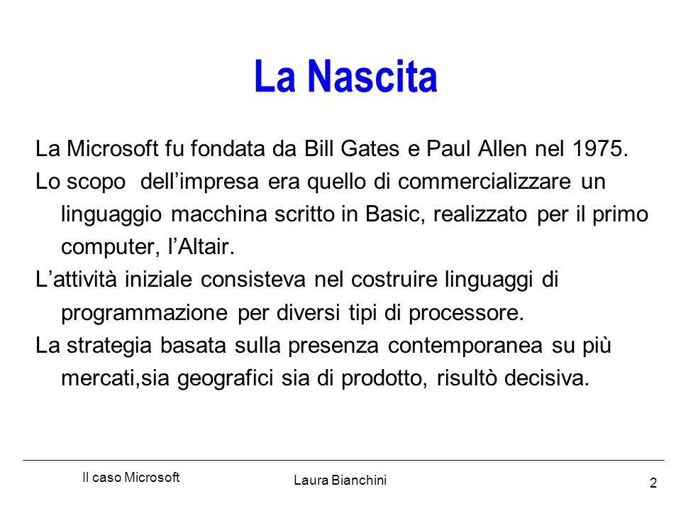 Laura Bianchini Il caso Microsoft 13 Schieramento opposto a Microsoft Borland (6) Società leader nel software per database, si scontrò con Microsoft quando questa acquistò Access e per incentivarne l'utilizzo praticò sconti di circa 86% rispetto al prezzo precedente.