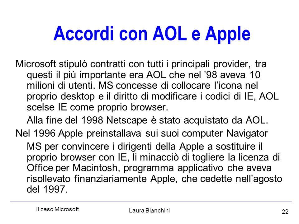 Laura Bianchini Il caso Microsoft 22 Accordi con AOL e Apple Microsoft stipulò contratti con tutti i principali provider, tra questi il più importante era AOL che nel '98 aveva 10 milioni di utenti.