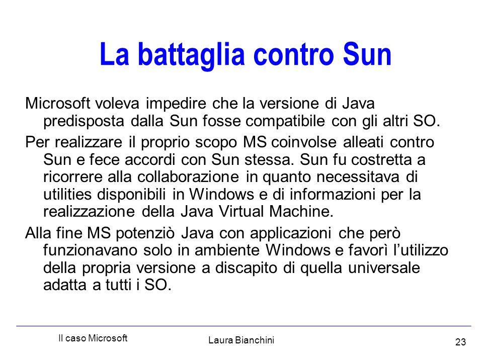 Laura Bianchini Il caso Microsoft 23 La battaglia contro Sun Microsoft voleva impedire che la versione di Java predisposta dalla Sun fosse compatibile con gli altri SO.