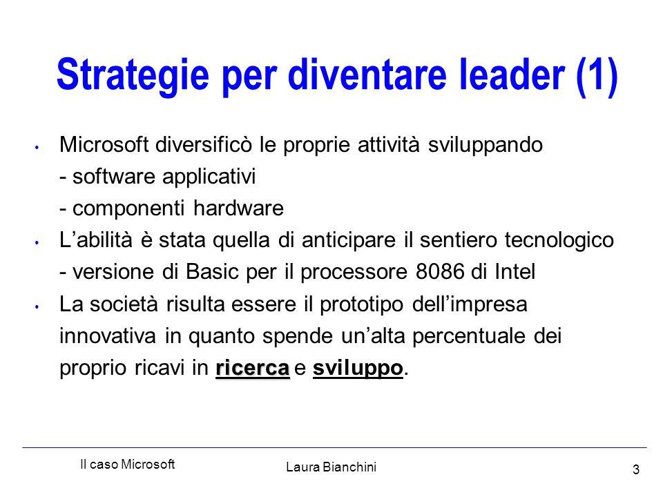 Laura Bianchini Il caso Microsoft 4 Strategie per diventare leader (2) Capacità di sfruttare le invenzioni altrui - Quick and Dirty Operating System ( DOS ) - S.O.