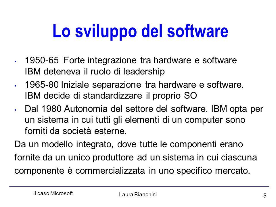 Laura Bianchini Il caso Microsoft 5 Lo sviluppo del software 1950-65 Forte integrazione tra hardware e software IBM deteneva il ruolo di leadership 1965-80 Iniziale separazione tra hardware e software.
