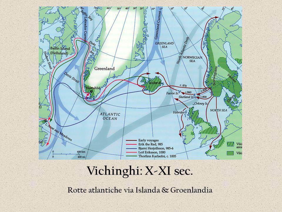 Vichinghi: X-XI sec. Rotte atlantiche via Islanda & Groenlandia