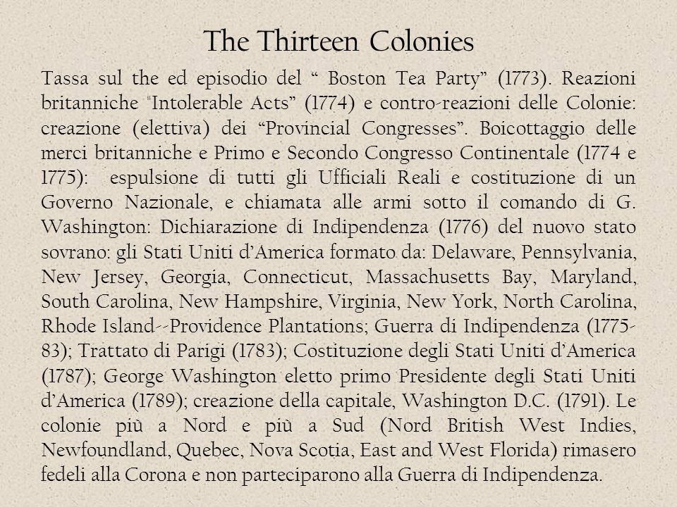 "The Thirteen Colonies Tassa sul the ed episodio del "" Boston Tea Party"" (1773). Reazioni britanniche"