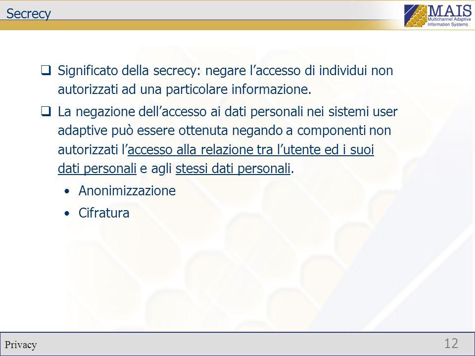 Privacy 12 Secrecy  Significato della secrecy: negare l'accesso di individui non autorizzati ad una particolare informazione.