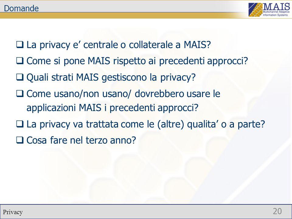 Privacy 20 Domande  La privacy e' centrale o collaterale a MAIS.