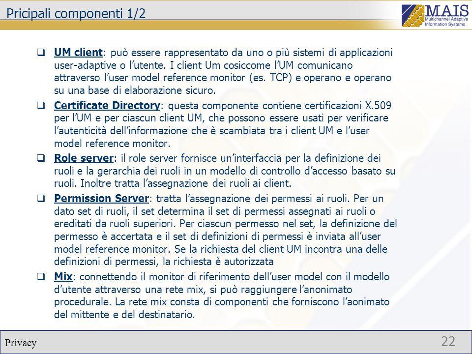 Privacy 22 Pricipali componenti 1/2  UM client: può essere rappresentato da uno o più sistemi di applicazioni user-adaptive o l'utente.