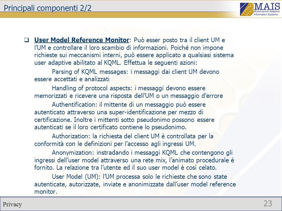 Privacy 23 Principali componenti 2/2  User Model Reference Monitor: Può esser posto tra il client UM e l'UM e controllare il loro scambio di informazioni.