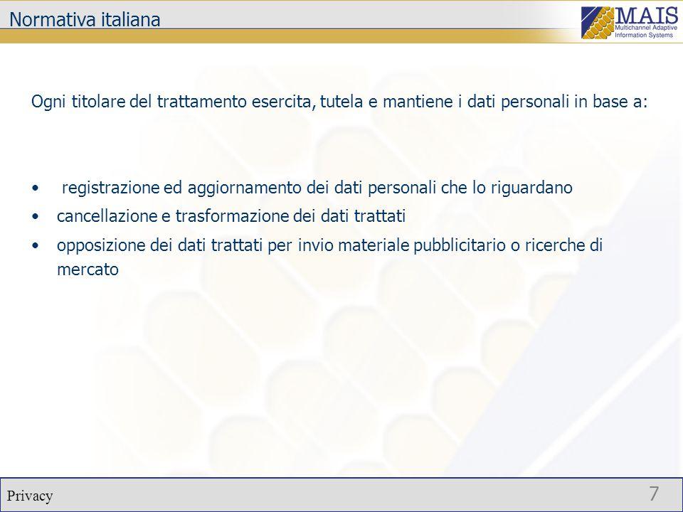 Privacy 8 Normativa italiana Il trattamento dei dati personali richiede inoltre: adozione di misure di sicurezza adeguate da parte di ciascun fornitore che eroga un servizio adozione di procedure ed operazioni di sicurezza gestiti da strumenti elettronici aggiornamento o la cancellazione dei dati adozione di tecniche di cifrature ed autenticazione