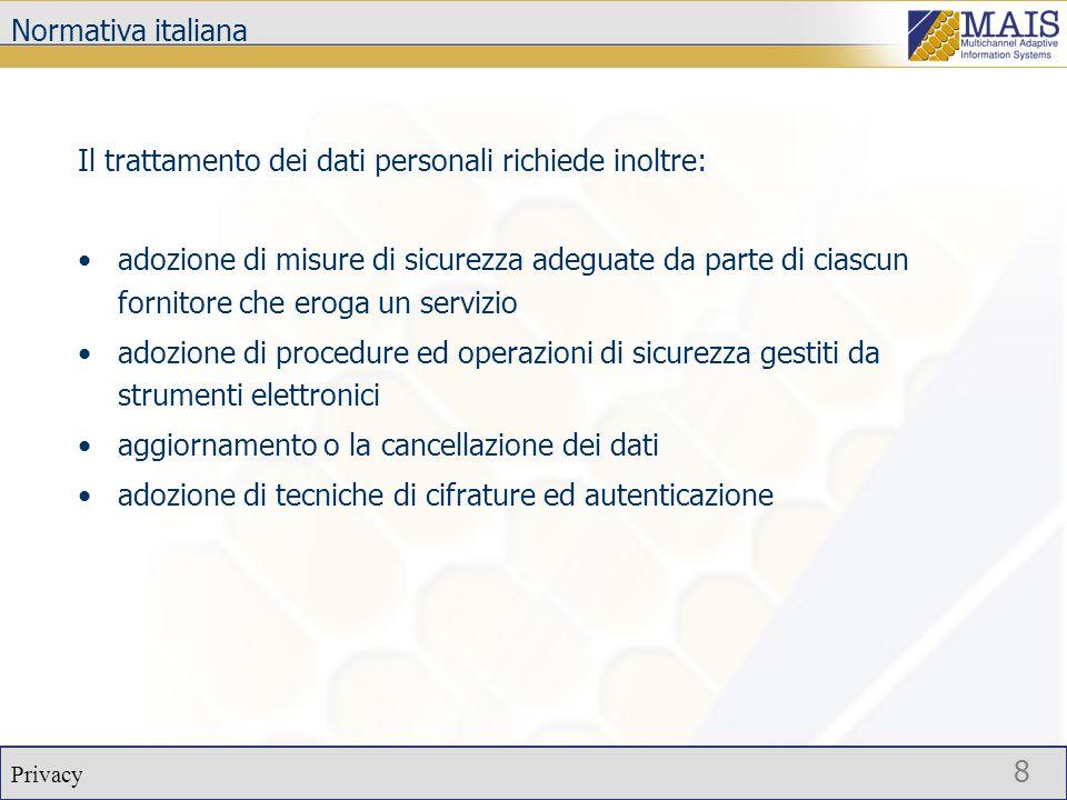 Privacy 19 Conclusioni  Presentazioni di alcuni aspetti del problema della privacy relativa ai sistemi informatici.