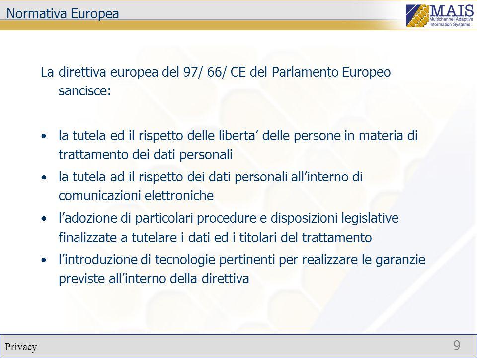 Privacy 9 Normativa Europea La direttiva europea del 97/ 66/ CE del Parlamento Europeo sancisce: la tutela ed il rispetto delle liberta' delle persone in materia di trattamento dei dati personali la tutela ad il rispetto dei dati personali all'interno di comunicazioni elettroniche l'adozione di particolari procedure e disposizioni legislative finalizzate a tutelare i dati ed i titolari del trattamento l'introduzione di tecnologie pertinenti per realizzare le garanzie previste all'interno della direttiva