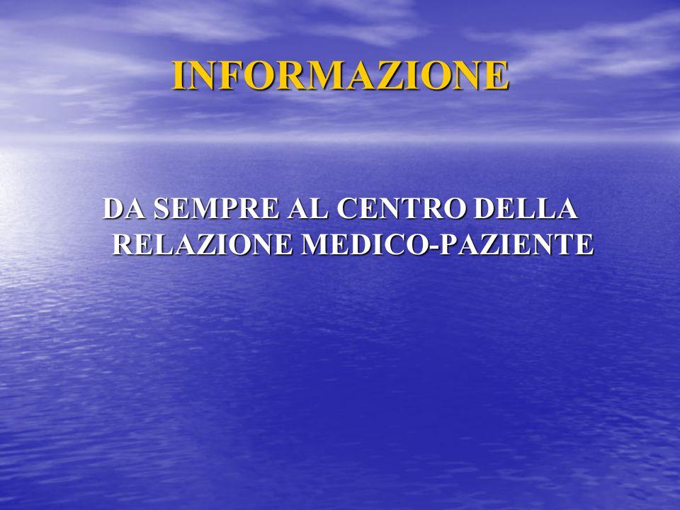 INFORMAZIONE DA SEMPRE AL CENTRO DELLA RELAZIONE MEDICO-PAZIENTE