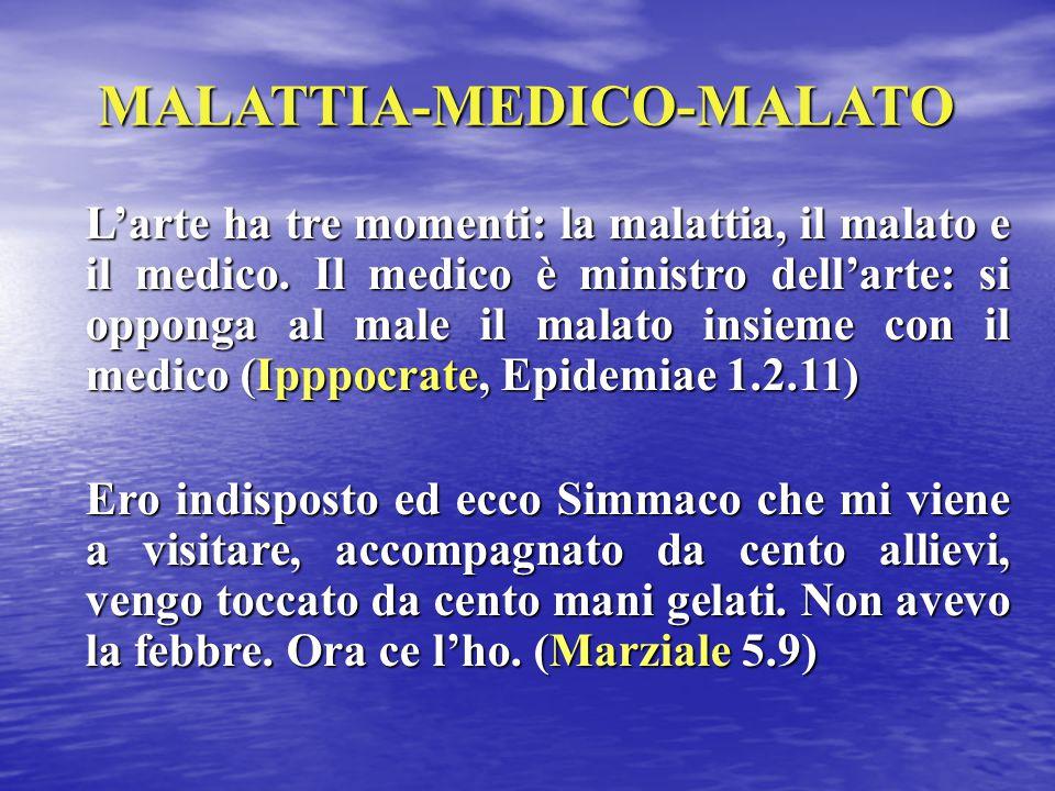 MALATTIA-MEDICO-MALATO L'arte ha tre momenti: la malattia, il malato e il medico. Il medico è ministro dell'arte: si opponga al male il malato insieme