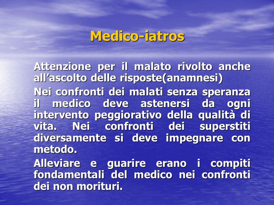 Medico-iatros Attenzione per il malato rivolto anche all'ascolto delle risposte(anamnesi) Nei confronti dei malati senza speranza il medico deve asten