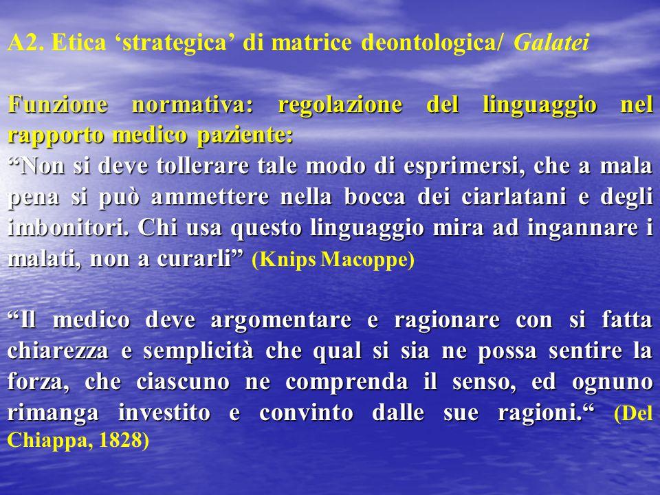 """A2. Etica 'strategica' di matrice deontologica/ Galatei Funzione normativa: regolazione del linguaggio nel rapporto medico paziente: """"Non si deve toll"""