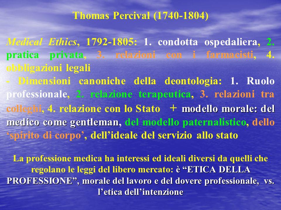 Thomas Percival (1740-1804) Medical Ethics, 1792-1805: 1. condotta ospedaliera, 2. pratica privata, 3. relazioni con i farmacisti, 4. obbligazioni leg