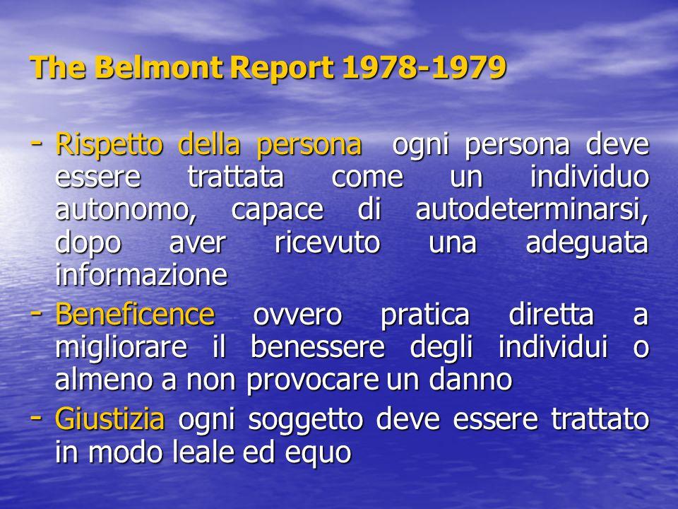 The Belmont Report 1978-1979 - Rispetto della persona ogni persona deve essere trattata come un individuo autonomo, capace di autodeterminarsi, dopo a