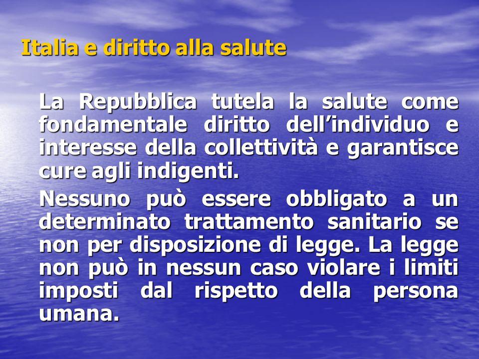 Italia e diritto alla salute La Repubblica tutela la salute come fondamentale diritto dell'individuo e interesse della collettività e garantisce cure