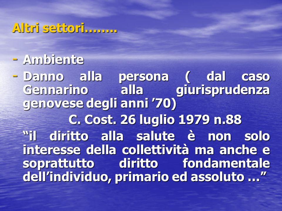 """Altri settori…….. - Ambiente - Danno alla persona ( dal caso Gennarino alla giurisprudenza genovese degli anni '70) C. Cost. 26 luglio 1979 n.88 """"il d"""