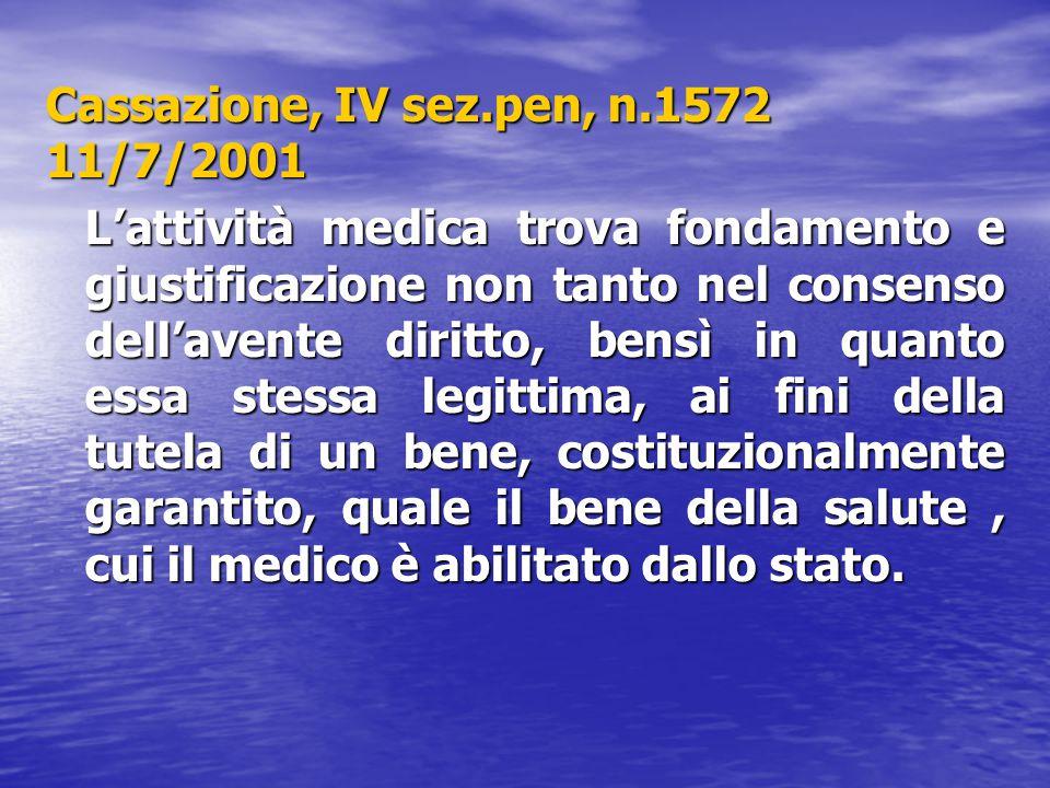 Cassazione, IV sez.pen, n.1572 11/7/2001 L'attività medica trova fondamento e giustificazione non tanto nel consenso dell'avente diritto, bensì in qua