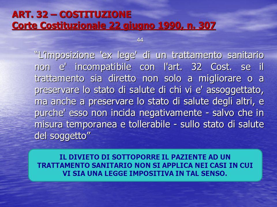 """ART. 32 – COSTITUZIONE Corte Costituzionale 22 giugno 1990, n. 307 """"L'imposizione 'ex lege' di un trattamento sanitario non e' incompatibile con l'art"""