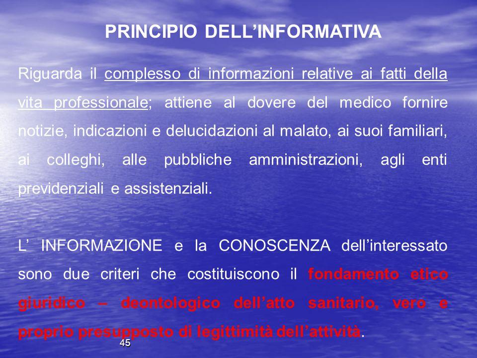 Riguarda il complesso di informazioni relative ai fatti della vita professionale; attiene al dovere del medico fornire notizie, indicazioni e delucida