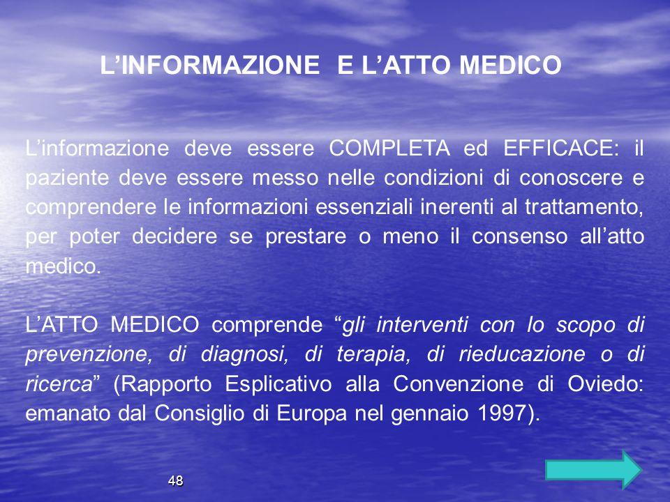 L'informazione deve essere COMPLETA ed EFFICACE: il paziente deve essere messo nelle condizioni di conoscere e comprendere le informazioni essenziali