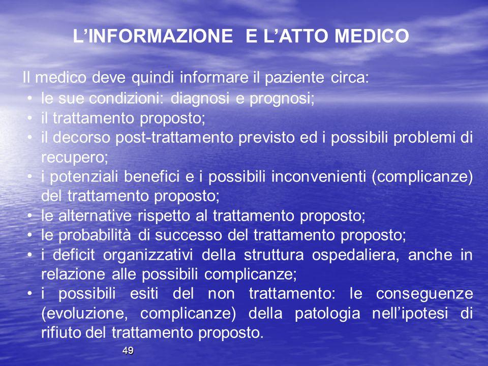Il medico deve quindi informare il paziente circa: le sue condizioni: diagnosi e prognosi; il trattamento proposto; il decorso post-trattamento previs