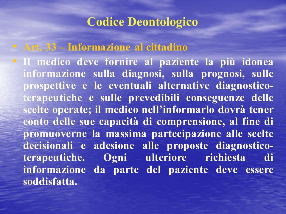 Codice Deontologico Art. 33 – Informazione al cittadino Il medico deve fornire al paziente la più idonea informazione sulla diagnosi, sulla prognosi,