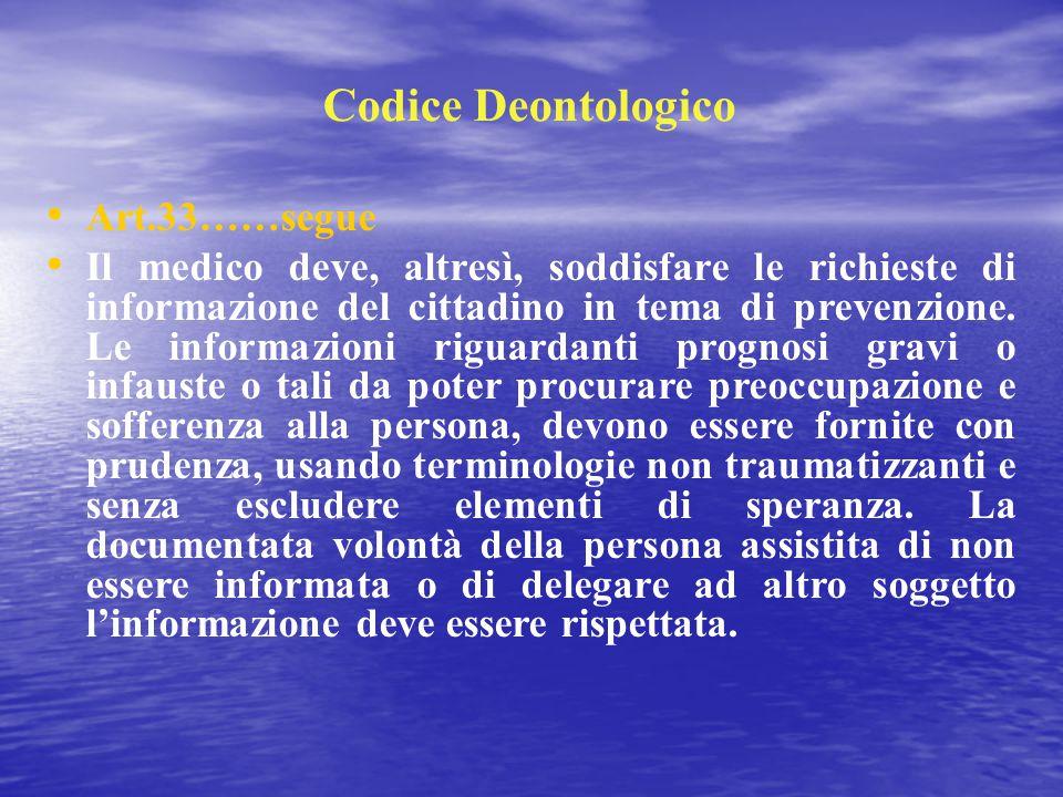 Codice Deontologico Art.33……segue Il medico deve, altresì, soddisfare le richieste di informazione del cittadino in tema di prevenzione. Le informazio