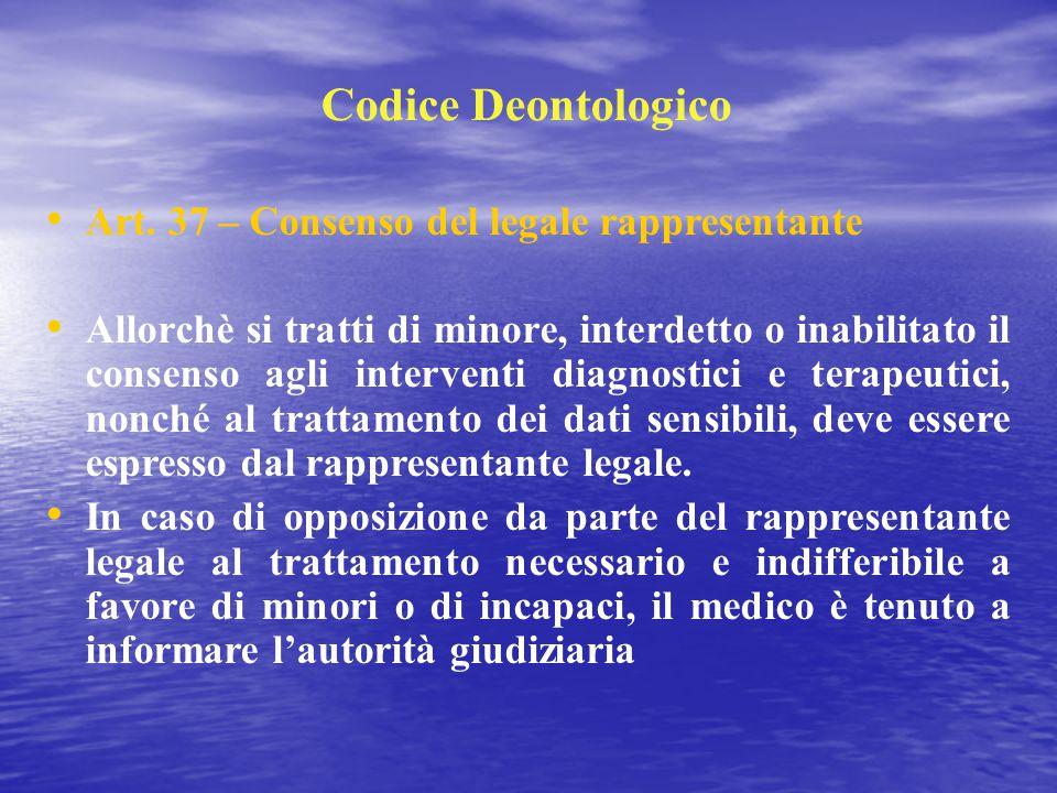 Codice Deontologico Art. 37 – Consenso del legale rappresentante Allorchè si tratti di minore, interdetto o inabilitato il consenso agli interventi di