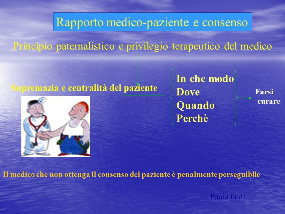 Rapporto medico-paziente e consenso Principio paternalistico e privilegio terapeutico del medico Supremazia e centralità del paziente In che modo Dove