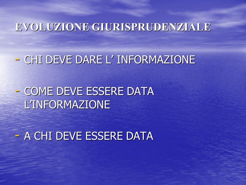 EVOLUZIONE GIURISPRUDENZIALE - CHI DEVE DARE L' INFORMAZIONE - COME DEVE ESSERE DATA L'INFORMAZIONE - A CHI DEVE ESSERE DATA