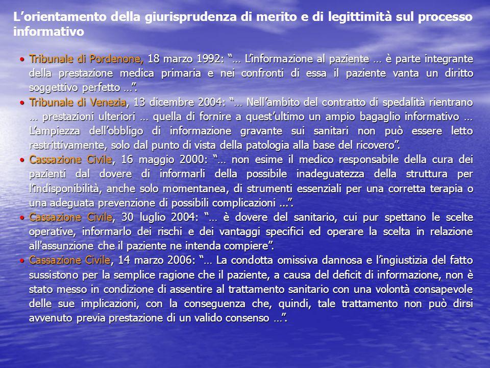 """Tribunale di Pordenone, 18 marzo 1992: """"… L'informazione al paziente … è parte integrante della prestazione medica primaria e nei confronti di essa il"""