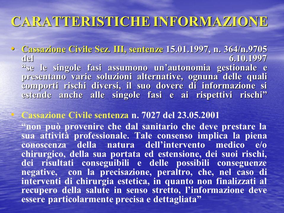 """CARATTERISTICHE INFORMAZIONE Cassazione Civile Sez. III, sentenze 15.01.1997, n. 364/n.9705 del 6.10.1997 """"se le singole fasi assumono un'autonomia ge"""