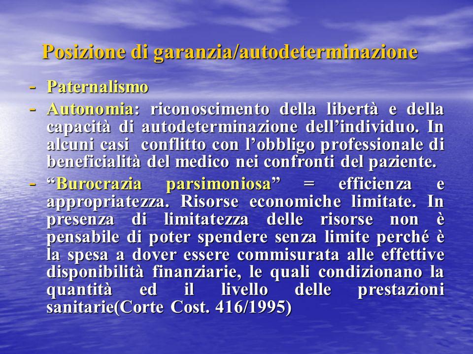 Posizione di garanzia/autodeterminazione - Paternalismo - Autonomia: riconoscimento della libertà e della capacità di autodeterminazione dell'individu