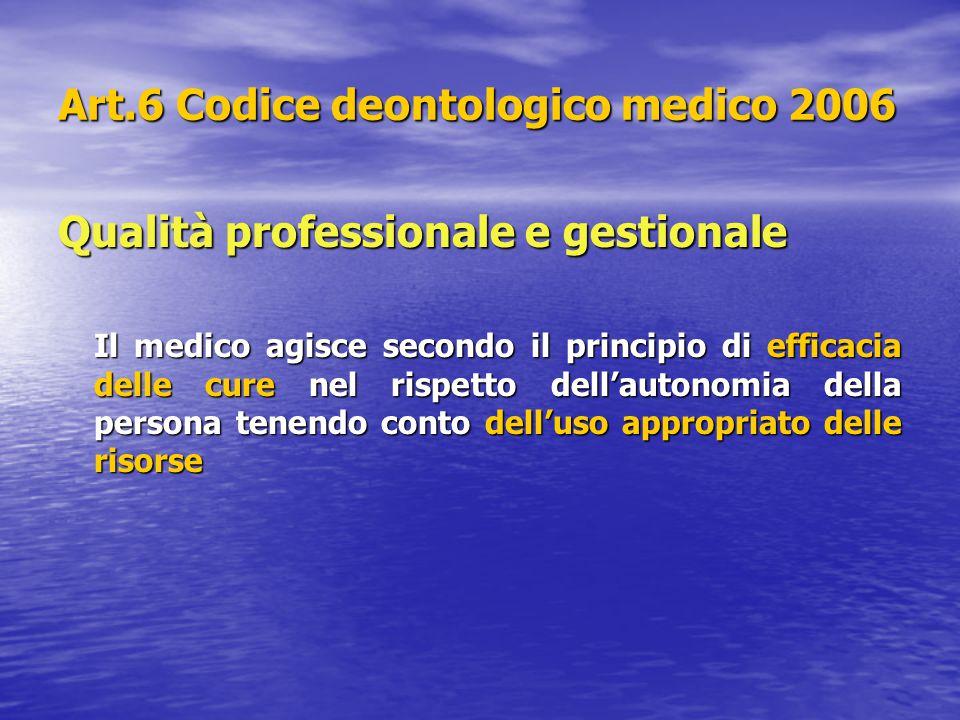 Art.6 Codice deontologico medico 2006 Qualità professionale e gestionale Il medico agisce secondo il principio di efficacia delle cure nel rispetto de