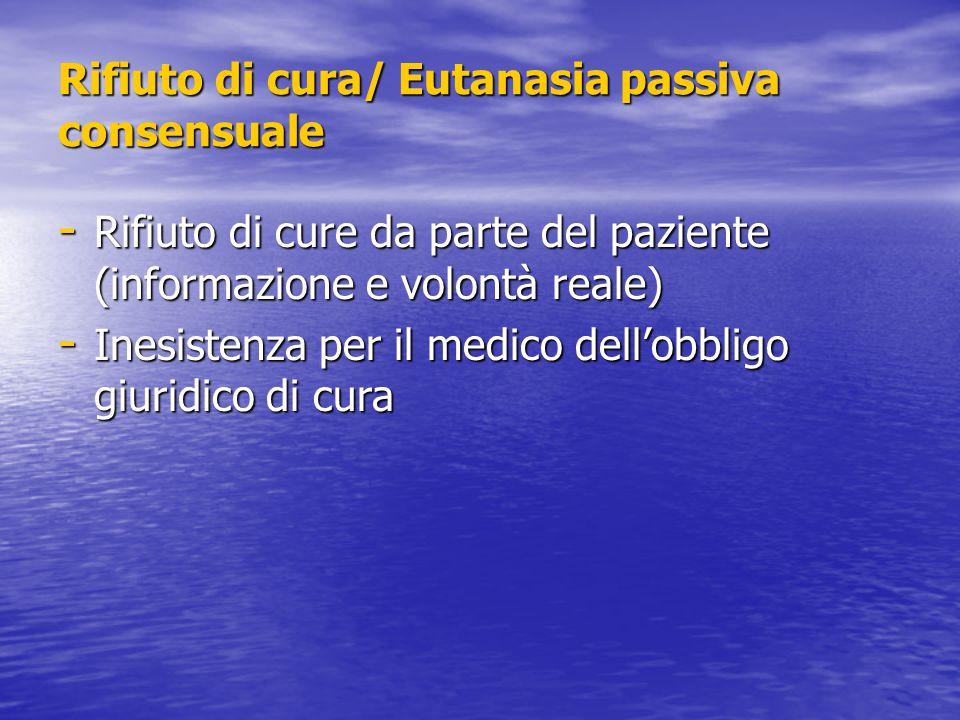 Rifiuto di cura/ Eutanasia passiva consensuale - Rifiuto di cure da parte del paziente (informazione e volontà reale) - Inesistenza per il medico dell