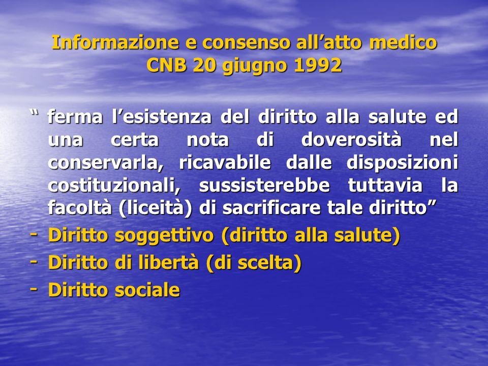 """Informazione e consenso all'atto medico CNB 20 giugno 1992 """" ferma l'esistenza del diritto alla salute ed una certa nota di doverosità nel conservarla"""