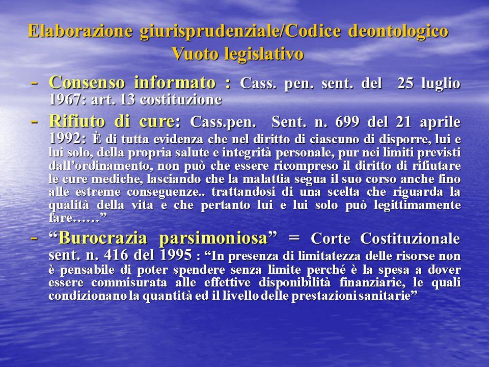 Elaborazione giurisprudenziale/Codice deontologico Vuoto legislativo - Consenso informato : Cass. pen. sent. del 25 luglio 1967: art. 13 costituzione