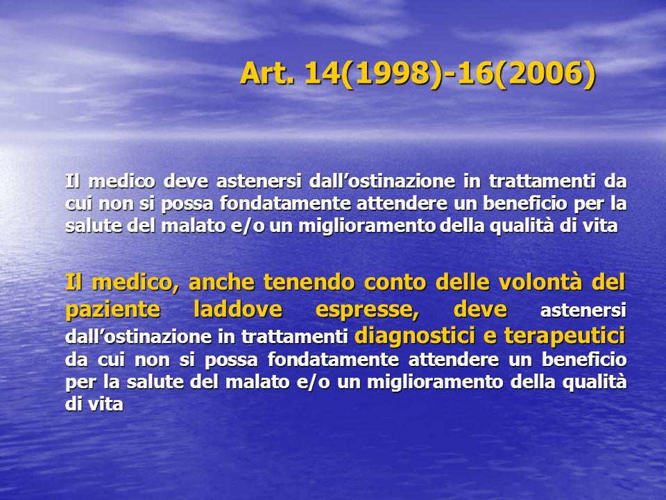 Art. 14(1998)-16(2006) Il medico deve astenersi dall'ostinazione in trattamenti da cui non si possa fondatamente attendere un beneficio per la salute