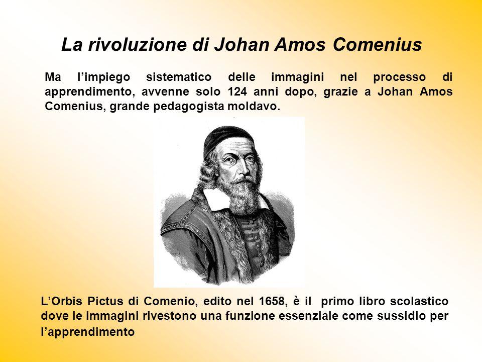 La rivoluzione di Johan Amos Comenius L'Orbis Pictus di Comenio, edito nel 1658, è il primo libro scolastico dove le immagini rivestono una funzione e