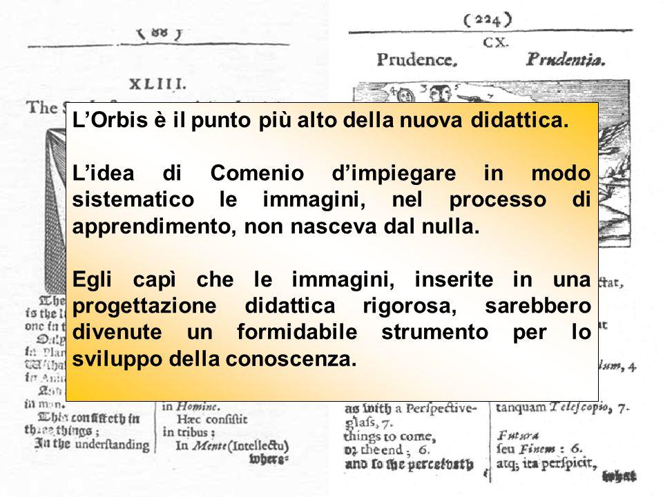 L'Orbis è il punto più alto della nuova didattica. L'idea di Comenio d'impiegare in modo sistematico le immagini, nel processo di apprendimento, non n