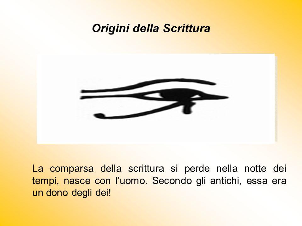 Origini della Scrittura La comparsa della scrittura si perde nella notte dei tempi, nasce con l'uomo. Secondo gli antichi, essa era un dono degli dei!