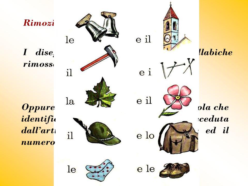 Rimozione I disegni suggeriscono le parti sillabiche rimosse delle parole relative ai soggetti. Oppure spronano a cercare l'intera parola che identifi