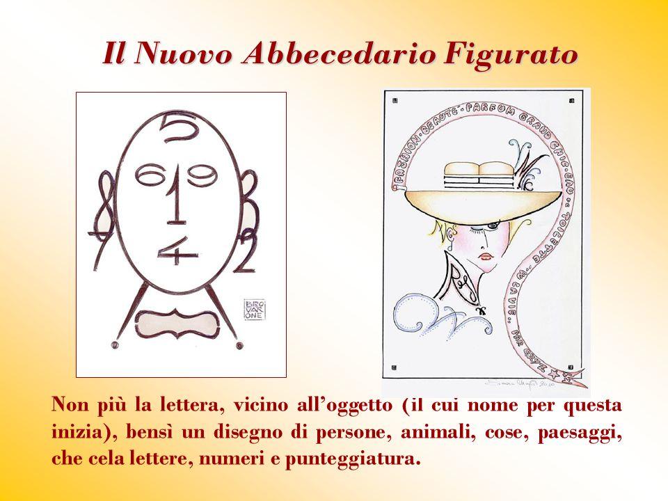 Il Nuovo Abbecedario Figurato Non più la lettera, vicino all'oggetto (il cui nome per questa inizia), bensì un disegno di persone, animali, cose, paes