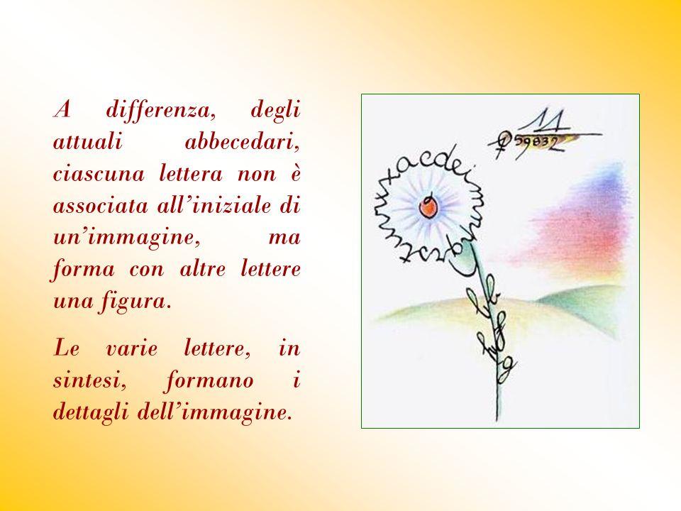 A differenza, degli attuali abbecedari, ciascuna lettera non è associata all'iniziale di un'immagine, ma forma con altre lettere una figura. Le varie